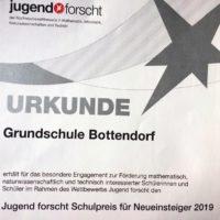 Jugend forscht Schulpreis für Neueinsteiger 2019